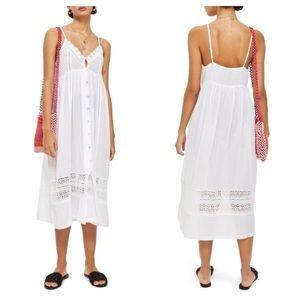 Topshop White Lace Frill Midi Dress Size Large